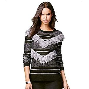 Rachel Roy Striped Fringe Pullover Sweater L Black